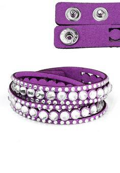 NEW SWAROVSKI STYLE DOUBLE WRAP SLAKE BRACELET - Summer Essential ���� Purple | eBay