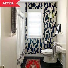 Post Image Bold Wallpaper, Bathroom Wallpaper, Perfect Wallpaper, Bathroom Renos, Budget Bathroom, Small Bathroom, Bright Bathrooms, Bathroom Ideas, Ceiling Treatments