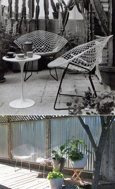 Bertoia diamond chairs in retro Southwestern small patio of awesomeness.