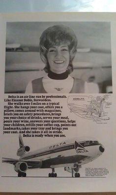 Delta Air Lines Stewardess 1960s Delta Air Lines