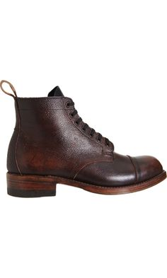 Julian Boots, Buckingham lace up in grained leather featuring a cap toe & pull on tab on a stacked leather sole.