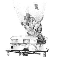 #caravan #fire #illustration #blackandwhite #inked #inkultbepart #illustrator #lines #blackandwhiteart #posterart #posterillustration #bandart #blackwork  #graphicdesign  #typography Blackwork, Caravan, Illustrator, Typography, Fire, Graphic Design, Artwork, Poster, Instagram