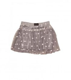 spotty skirt with mesh overlay.  100%  polyester excluding trims.