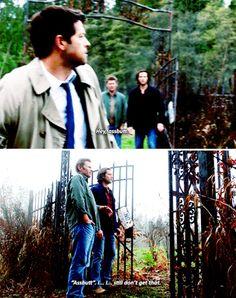 """Castiel: Hey assbutt. Lucifer: Ass-butt? I-I-I-I still don't get that. #Supernatural 11x10 """"Devil In The Details"""""""