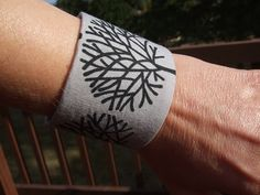 Black+Trees+Wrist+Cuff+by+SkinnyBugStudio+on+Etsy,+$7.50