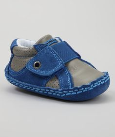 Take a look at this Blue & Gray Stretch Sneaker by Ten Tiny Toes Footwear on #zulily today!