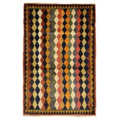 Vintage Nouri Gabbeh Rug - Loving the Harlequin pattern...