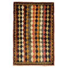 Vintage Nouri Gabbeh Rug - Loving the Harlequin pattern...