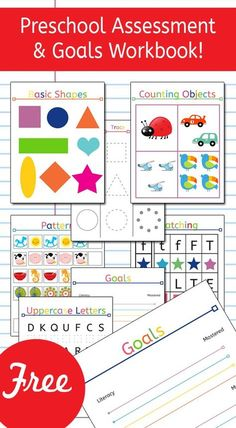 Preschool Assessment and Goals Workbook! What an amazing and fun resource to use with your preschooler! It lets parents know in what areas their preschooler excels, and which areas they could use a little extra work! This resource is amazing! by nichole Preschool Education, Preschool Learning Activities, Preschool At Home, Free Preschool, Preschool Printables, Preschool Lessons, Preschool Kindergarten, Preschool Worksheets, Toddler Preschool
