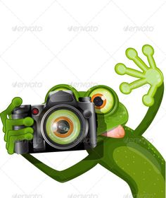 Frog with a Camera illustration merry green frog with a camera vector EPS AI 10 file, JPEG 3 layers fully editable Created: GraphicsFilesIncluded: JPGImage Layered: Yes MinimumAdobeCSVersion: CS Tags: alive Frog Pictures, Cute Love Pictures, Love Photos, Funny Animal Pictures, Funny Frogs, Cute Frogs, Cartoon Pics, Cartoon Drawings, Frog Wallpaper