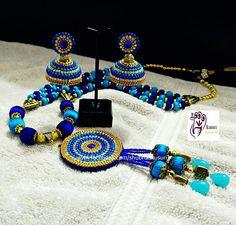 Handmade silk thread neck set by Kusuri. Silk Thread Bangles Design, Silk Thread Necklace, Thread Jewellery, Jewellery Making, Diy Jewelry, Jewelery, Quilling Earrings, Thread Work, Ear Rings