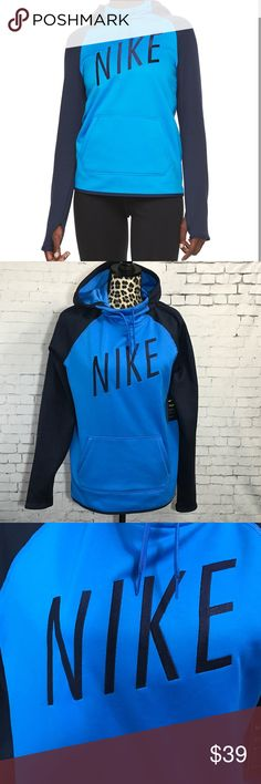 "🌀Nike Therma Training Pullover  Hoodie Medium This is brand new with tags!  Light blue with navy sleeves and embroidered ""NIKE"". Graphic pullover hoodie Nike® Therma fabric helps to manage your body's natural heat to keep you warm Scuba-neck hood is lined with mesh to provide breathable coverage Raglan sleeves offer an optimal range of motion Soft elastic binding at the cuffs and hem provide a clean finish Kangaroo pocket for hand warmth and small-item storage Thumbholes help to enhance…"