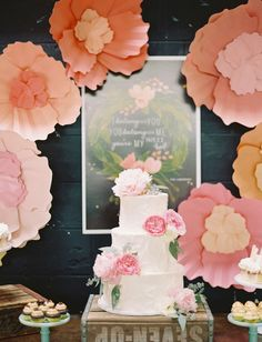 paper flower decor and cake