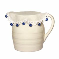Beaded Jug Covers - photo saved for reference - simple design, which appears to use ready made lace edge to edge fabric & then apply beads to decorate . ie, no crochet! Crochet Home, Bead Crochet, Crochet Doilies, Crochet Trim, Small Sewing Projects, Crochet Projects, Crochet Ideas, Milk Jug, Home