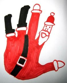 Pinterest Holiday Pin of the Week - Hand Santa Falling Down the Chimney! - - Pinned by @PediaStaff – Please visit http://ht.ly/63sNt for all (hundreds of) our pediatric therapy pins