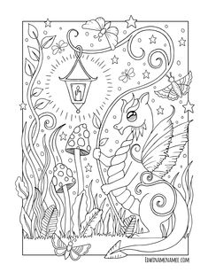 Baby Dragon Coloring Pages For Grown Ups, Fairy Coloring Pages, Printable Adult Coloring Pages, Animal Coloring Pages, Coloring Pages For Kids, Coloring Books, Dragon Coloring Page, Diy Y Manualidades, Colorful Drawings