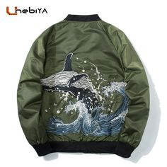 Unebiya Whale Embroidery Windbreaker Men's Spring Fashion Brand-Clothing Bomber Jacket Pilot Jackets streetwear 2018