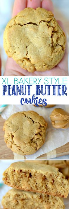 XL Bakery Style PB Cookies - these peanut butter cookies are HUGE and filled with peanut butter chips. We inhale these faster than I can make them! (Peanutbutter No Baking Cookies) Cookie Desserts, Just Desserts, Delicious Desserts, Dessert Recipes, Diabetic Desserts, Baking Cookies, Cookies With Crisco, Buttery Cookies, Bakery Recipes