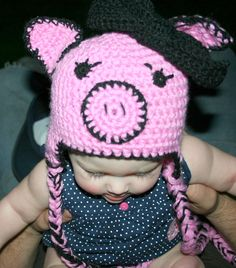 Pink Pig Crocheted Hat
