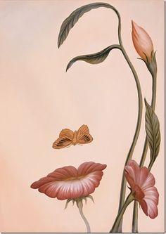 fleur et papillon= visage femme