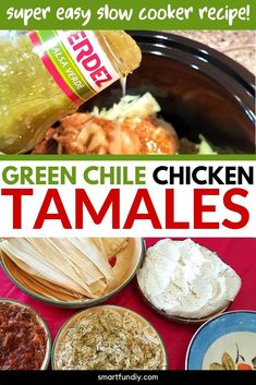 Make delicious tamales with your slow cooker! Learn the trick to flavor meat for your tamales and get the recipe for these green chile chicken tamales. PLUS, see how easy it is to make tamales from scratch when you watch the video tutorial! Meat Recipes, Slow Cooker Recipes, Mexican Food Recipes, Chicken Recipes, Cooking Recipes, Mexican Desserts, Cooking Tips, Dinner Recipes, Couple Cooking