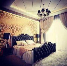 Pink And Gold Bedroom Design: Imaginative Pink Gold Luxury Bedroom Furniture Princess, Pink Gold Fabric Draperies Decor, Combination Black Gold Color Bedroom Interior Design, Beautiful Black Gold Bedroom Interior Dream Rooms, Dream Bedroom, Home Bedroom, Bedroom Ideas, Bedroom Furniture, Lux Bedroom, Furniture Sets, Modern Bedroom, Fancy Bedroom