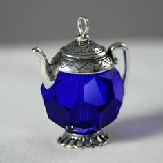 Vintage Large 18mm Crystal Cobalt Blue Teapot :