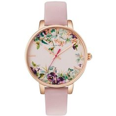 Women's Ted Baker London Round Leather Strap Watch, 38Mm ($155) ❤ liked on Polyvore featuring jewelry, watches, leather strap watches, floral jewelry, ted baker, round watches and floral watches