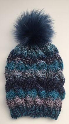 102d33ce3da Hand Knit Braided Cable Beanie Blue Multi Tone with a Detachable Navy Aruba  or Pink Faux Fur Pom Pom Chunky Acrylic Yarn Handmade by kitchenklutter on  Etsy