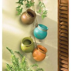 Amazon.com: Gift & Decor Hanging HERB Dangling Mini Pots Wall Pottery Southwest Mexican: Home & Kitchen