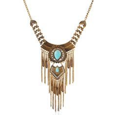 New Fashion Vintage Metal Long Tassel Chain Choker Necklaces For Women Green Turquoise Stone Retro Necklaces & Pendants