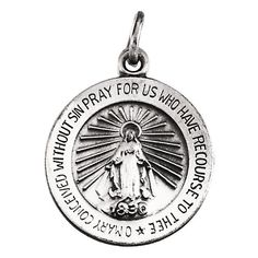 k White Gold Miraculous Medal Charm Pendant - 1 Gram Gold Jewellery, Gold Rings Jewelry, White Gold Jewelry, Gold Jewellery Design, Jewelry Stand, Body Jewellery, Jewelry Logo, Craft Jewelry, Jewelry Making