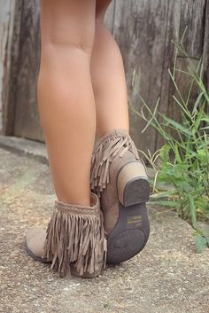 Hit The Road Fringe Taupe Ankle Booties -these wouldn't be used just for fall in my closet, what about CMA fest?