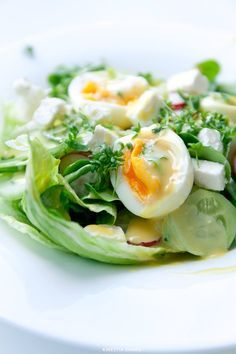 {Salad with Feta cheese, Eggs and Watercress} Sałatka z jajkiem i fetą - Przepis Clean Recipes, Cooking Recipes, Healthy Recipes, Healthy Foods, Pasta Lunch, A Food, Food And Drink, Salad Recipes, Potato Salad