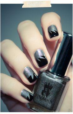 black + silver nails