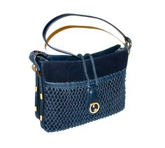 Vintage GUCCI Tote Navy Blue Suede Leather Rope by StatedStyle