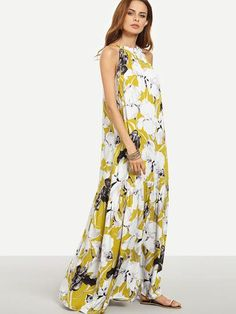 floral maxi dresses, yellow multicolor floral dress, maxi dresses with flower print - Lyfie