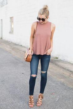 #ootd #pink #denim #summer #style #tanktop