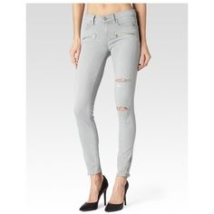 PAIGE Jane Zip Ultra Skinny - Grey Mist Destructed (1.050 HRK) ❤ liked on Polyvore featuring jeans, denim, grey mist destructed, pants, super skinny ripped jeans, super skinny jeans, ripped jeans, gray skinny jeans and skinny fit jeans