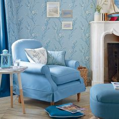 Pussy Willow Seaspray Blue Floral Wallpaper