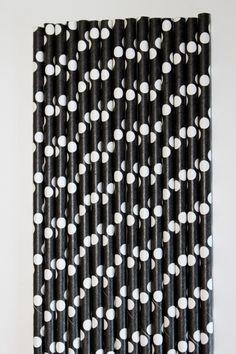 25 Black and White Polka dot  paper straws birthday party event cake pop sticks Bonus diy straw flags