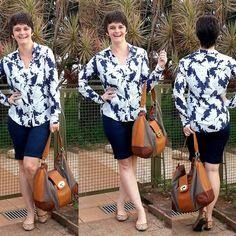 LEILA DINIZ *blog: #LookDoDia: camisa estampa branca com fundo azul m...