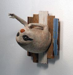 Jeffrey Sincich / Sloth; earthenware cone 02, underglaze, wax