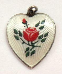 Vintage Sterling Silver & Guilloche Enamel Heart Charm