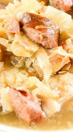 Crock Pot Polish Sausage and Cabbage Soup paleo crockpot soup Kielbasa And Cabbage, Crock Pot Cabbage, Crock Pot Soup, Crock Pot Cooking, Hearty Soup Recipes, Cabbage Soup Recipes, Paleo Soup, Cooker Recipes, Crockpot Recipes