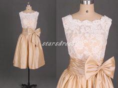 Champagne Lace And Taffeta Bridesmaid DressesDress by starsdress, $89.99