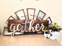 Galvanized metal windmill &/or gather thankful sign on