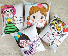 Be True to Who You Are Plush Pillow Girl Power by LemonTreeStudio
