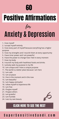 Positive affirmations can help you release negativity, anxiety, depression & stress. Get your FREE list of 60 Positive Affirmations for Anxiety & Depression Positive Affirmations For Anxiety, Affirmations For Women, Positive Affirmations Quotes, Self Love Affirmations, Morning Affirmations, Gratitude Quotes, Affirmation Quotes, Positive Quotes, Healthy Affirmations