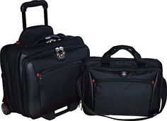 SwissGear Potomac Business Set Overnighter Bag Rolling Case And Laptop Bag, Black Best Laptop Backpack, Laptop Briefcase, Leather Briefcase, Laptop Case, Rolling Briefcase, Focus Camera, Best Laptops, Laptop Accessories, Cool Things To Buy